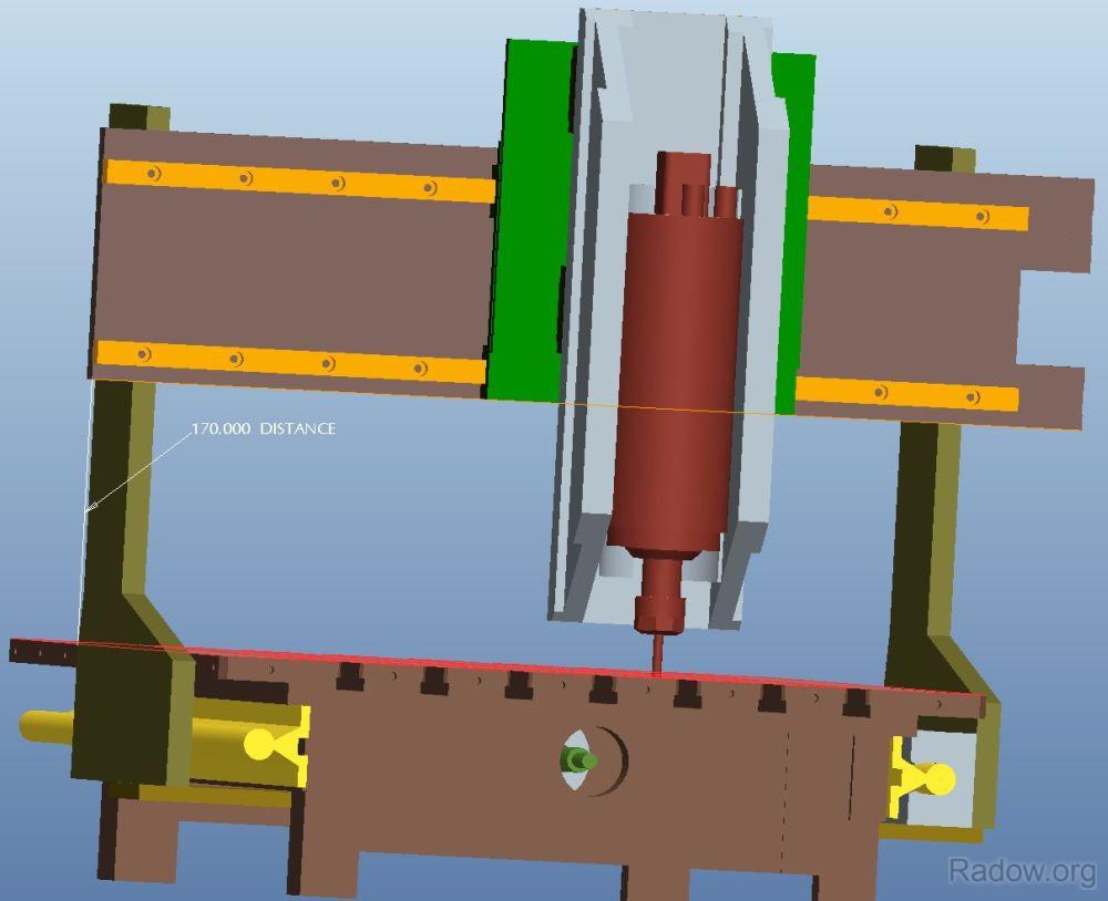 Designstudie mit 170 mm Portalhöhe. Realisiert habe ich schließlich 200 mm