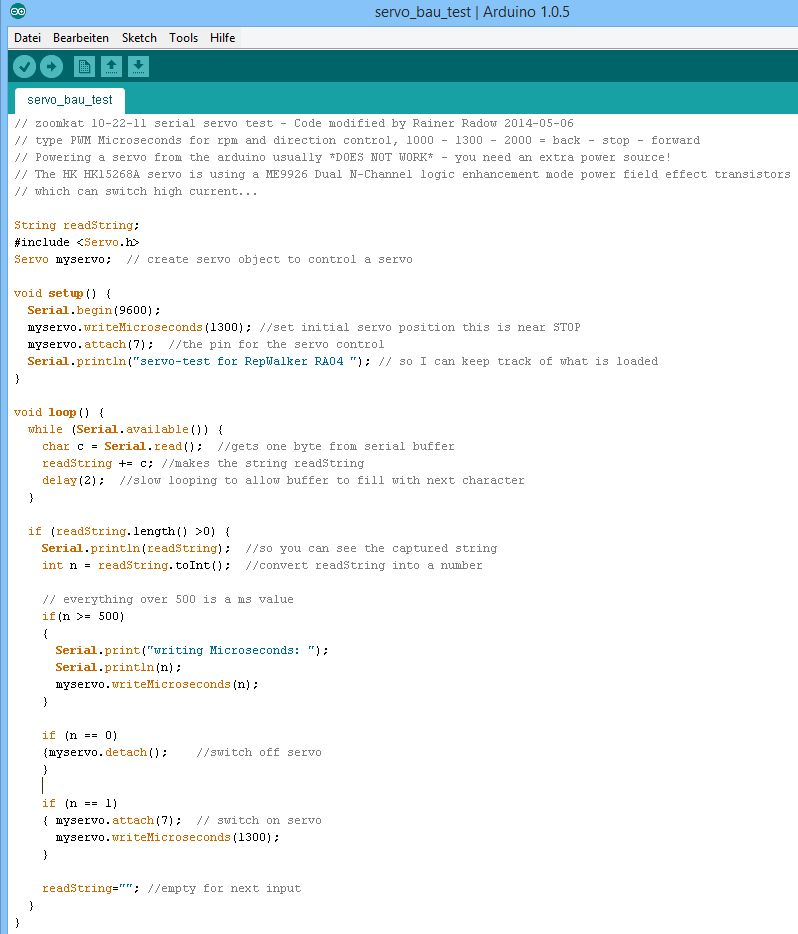Mit der Arduino Servo.h Library testet man dann seinen neuen Motor