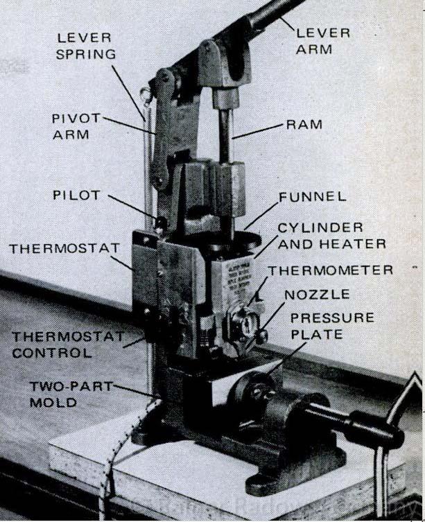 Elemente einer Kolben-Spritzgussmaschine (Radow © 2014-07-24)