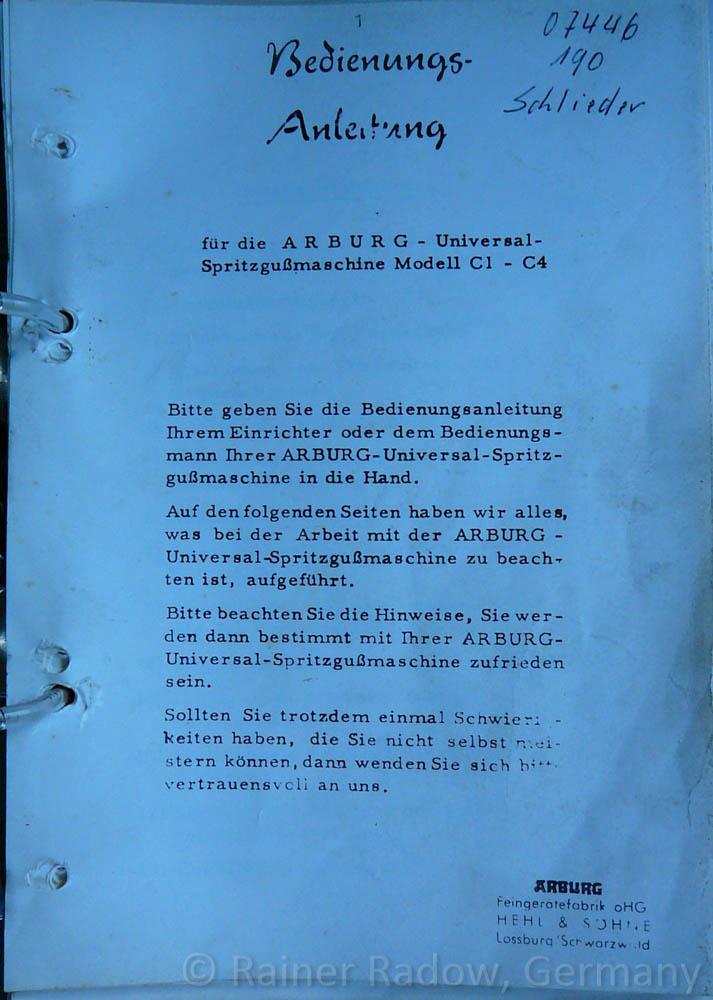 Arburg C4 Spritzgussmaschine - Bedienungsanleitung (Radow © 2014-07-29)