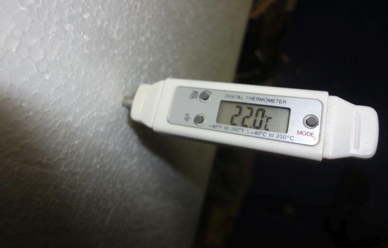 Zusätzliche Überwachung der Gärtemperatur mit einem Bratenthermometer