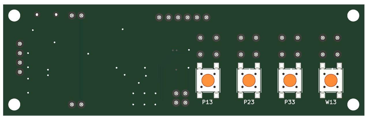 Rückseite der Prozessorplatine für Digitalmessschiebern.<br>Auch hier können bei Bedarf 4 Taster direkt auf die Platine gelötet werden.
