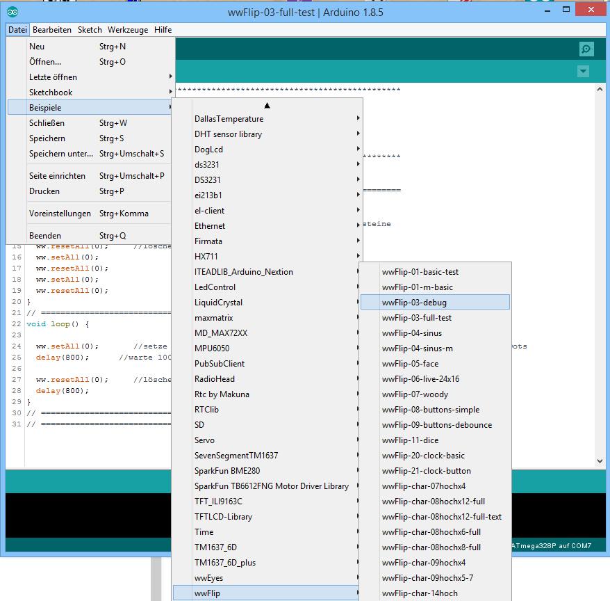 Nach Auswahl des Nanos sind die Beispiele für die wwFlip Library in der IDE sichtbar<br>(Bildschirmfoto nicht mehr aktuell - ich füge laufend etwas Neues hinzu!)