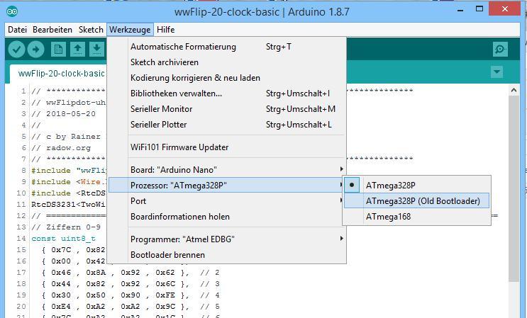 Für die wwFlipGFX Library muss der Arduino Nano mit ATmega328P ausgewählt werden