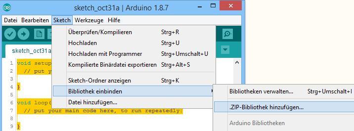 Einbinden der wwFlipGFX.h in die Arduino IDE