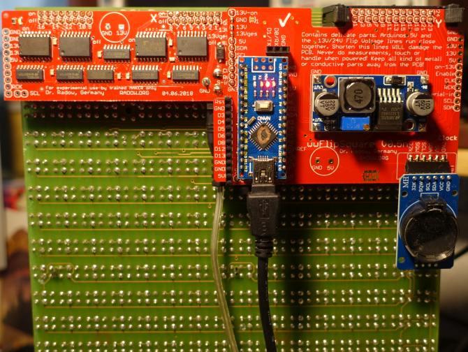 wwFlip Platine für KRUEGER Flip-Dot Module. Das wwFlip Modul kann geometriebedingt<br>nur in der richtigen Weise montiert werden. DIP Schalter gibt es hier nicht.