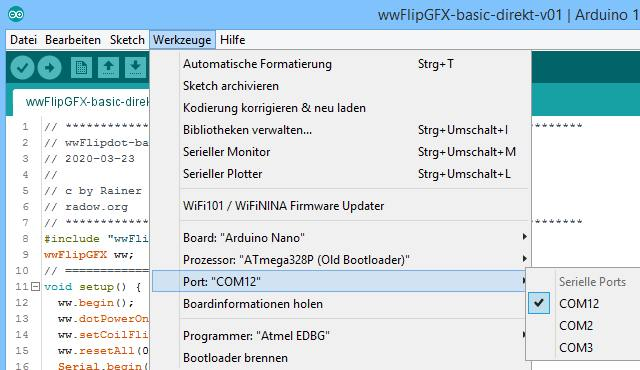 Durch das Betriebssystem wird dem NANO ein bestimmter Serieller Port zugewiesen.<br>Dieser ist in der Arduino IDE auszuwählen.