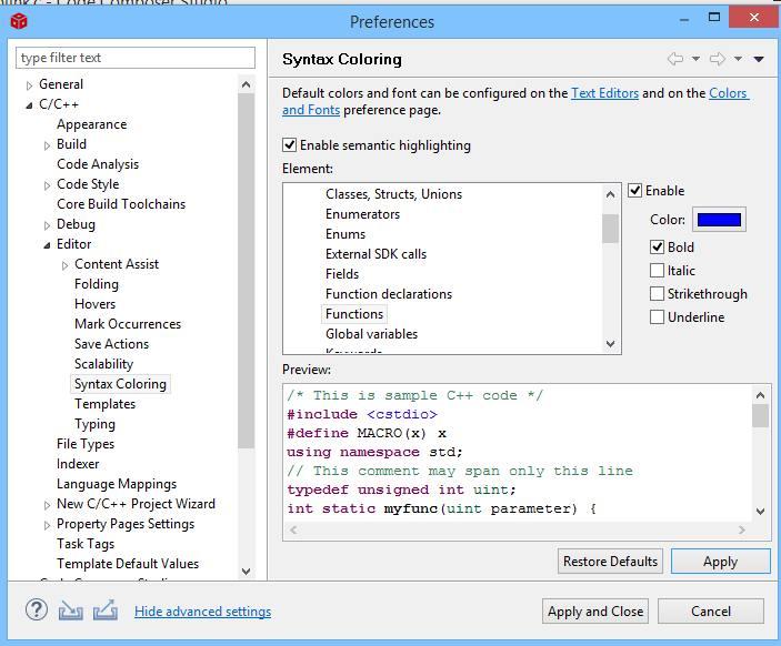 CCS Syntax Coloring für driverlib Elemente über